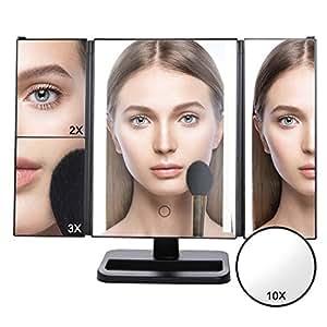 lifewit make up spiegel mit 24 led beleuchtung dimmbar durch touch schalter 3 abschnitt. Black Bedroom Furniture Sets. Home Design Ideas