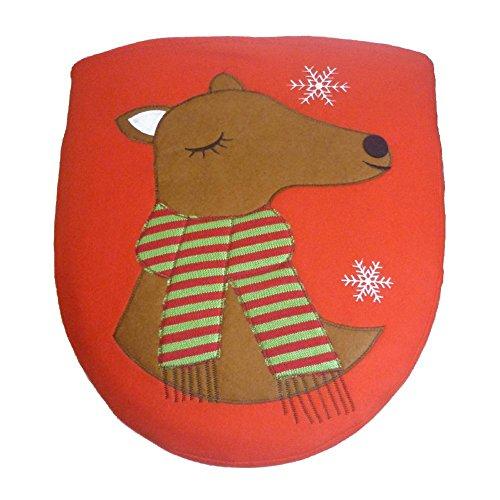 1Stück SET WEIHNACHTEN Schneemann WC-Deckelbezug-Weihnachten Schneemann Deer WC-Set Christmas WC-Sitz WC-Sitz rot Weihnachten Dekoration Badezimmer Zubehör B:elk - Elch Wc