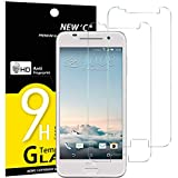 NEW'C Verre Trempé pour HTC One A9,[Pack de 2] Film Protection écran - Anti Rayures - sans Bulles d'air -Ultra Résistant (0,33mm HD Ultra Transparent) Dureté 9H Glass