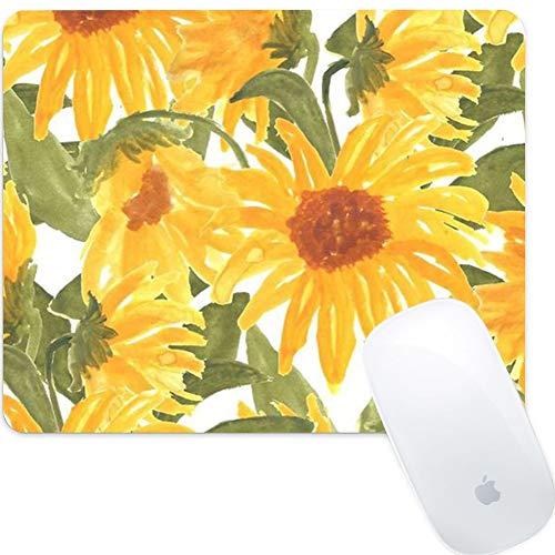Weneth Rechteck Mauspad Cooles Gaming Mousepad rutschfest Mausunterlage Gummi Ränder Mauspad für Laptop & Reise-Sonnenblume Kunst