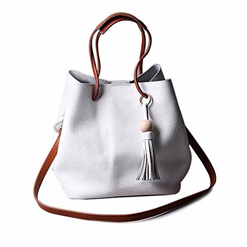 kingko® Art und Weisequalitäts Frauen Troddel Leder Schultaschen Handtaschen Schulter Tote Kurier Crossbody Beutel (Weiß) (Drawstring Troddel Handtasche)