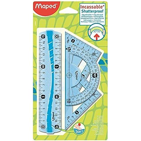 Mapped 244069 -  4 Pz - Mini Kit, Transportador de ángulos, cuadrados y líneas