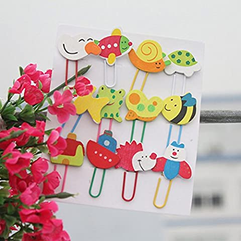B & Y Cute Cartoon Papier Clips, 12Stück (12 Round Bar Sink)