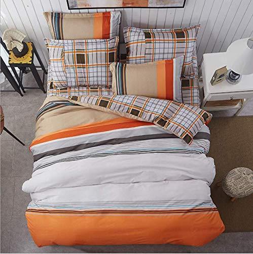 SHJIA tröster bettwäschesätze geometrisches Muster bettwäsche Baumwolle Polyester bettbezug bettlaken kissenbezüge abdeckset orange 150x200 cm -