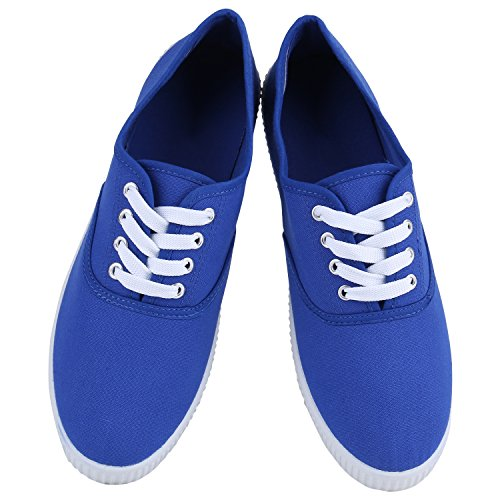 Damen Sneakers Stoff | Sneaker Low Muster | Basic Schuhe Animal Print | Freizeit Turnschuhe Schnürer Blau Blue