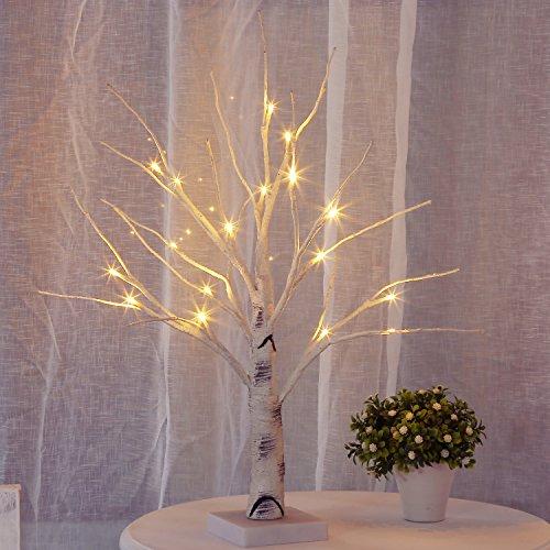 Bolylight LED Licht Birke Baum Lampe Jewelry Halter Mittelpunkt 45cm 18L ideal Decor für Zuhause/Weihnachten/Party/Festival/Hochzeit - Weiße Birke Natürlichen
