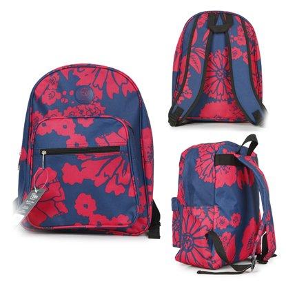 Friedndz Trendz-Plus Trasporta il sacchetto con cerniera bagagli di corsa Daypack zaino Bagpack (Regency Spot white/blue) Bloom red/navy