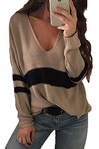 Sevozimda Frauen Stricken Pullover Lässig Tief Vneck Lockere Tops Patchwork Bluse Pullover Khaki. L - Pointelle Long Sleeve Top