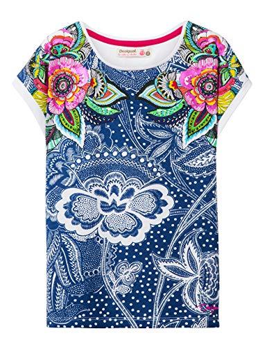 Desigual Mädchen Girl Knit Short Sleeve (TS_Nashville) T-Shirt, Blau (Navy 5000), 104 (Herstellergröße: 3/4)