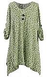 Stylish Ladies Womens Lagenlook Batik Print Turn Up Sleeve Tunic Top Spring Top Dress Plus size 16-30