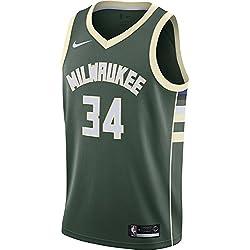Nike NBA Milwaukee Bucks Giannis Antetokounmpo 34 2017 2018 Icon Edition Jersey Oficial Away, Camiseta de Hombre