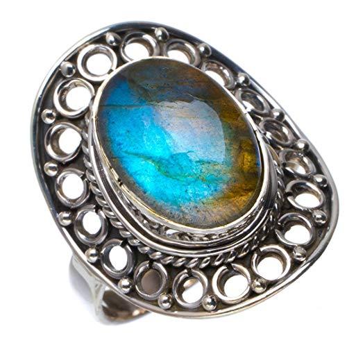 925er Sterling Silber Labradorite Einzigartig Handgefertigt Ringe 18 Blue B1261 - Authentische Blue Jeans
