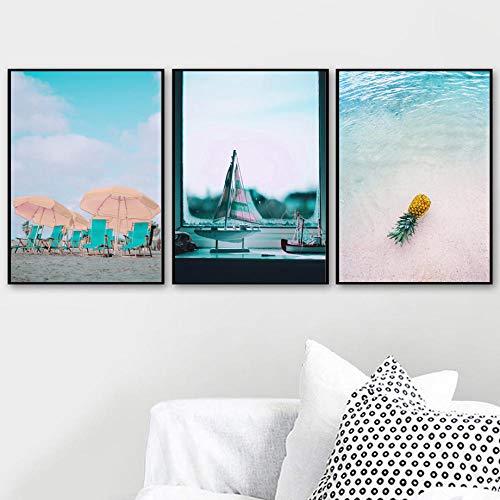 CNHNWJ Piña Beach Wave Umbrella Ship Quotes Arte de la Pared Pintura de la Lona Carteles nórdicos e Impresiones Imágenes de la Pared para la decoración de la Sala de Estar (50x70cmx3 / sin Marco)