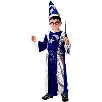 Taglia M - 5-6 anni - Costume - Travestimento - Carnevale - Halloween - Mago  Merlino - Colore Blu e argento - Bambino 5c74b710a9ae