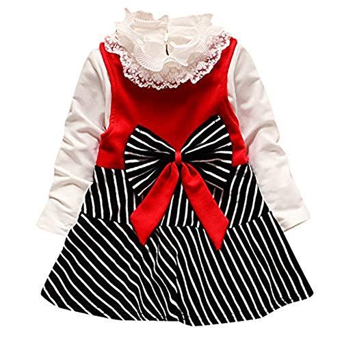 WUSIKY Kleid Kinder Baby Mädchen Langarm Bogen Gestreifte Prinzessin Kleid T-Shirt Kleidung Set Mini Rock Hoop Rock Unterrock Kleid Tüll Unterrock Kinder - Gestreifte Shirt Piraten Kostüm