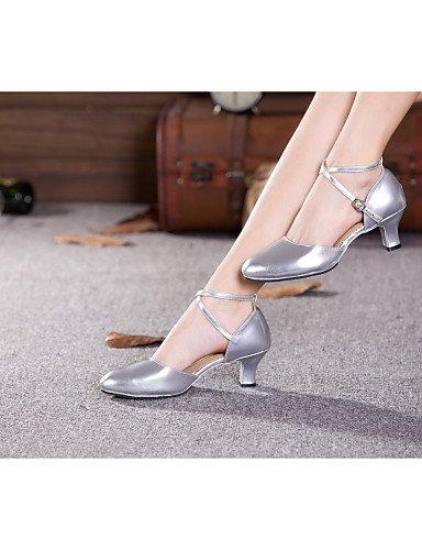 La mode moderne Sandales femme Chaussures de danse du ventre/latin/Samba/Synthétique Cuir Cuban Heel Red/Silver/Autres US10.5/EU42/UK8.5/CN43