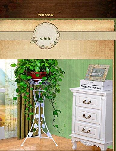 Style européen fer fleur cadre intérieur salon fleur étagères monocouche Flowerpot Rack (couleur : Blanc, taille : 62.5cm)