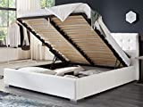 Bett mit Bettkasten Weiß Weiss Polsterbett Lattenrost Doppelbett Jimmy 140