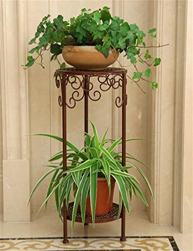 De style européen Fer Flower Pot Rack Creative Balcon Salon multi-couche Flower Pot Shelf (couleur : Brass, taille : 50 cm)