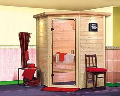 Alicja - Karibu Sauna Plug & Play inkl. 3,6 kW-Ofen - mit Dachkranz - von Woodfeeling GmbH - Du und dein Garten