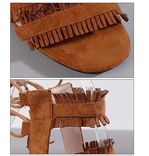 Quaste Kreuzband Schnüren Offener Zeh Römischen Stil High Heel Sandale für Frauen Gericht Schuhe Brown