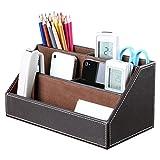 Eastlion Multifunktion 5 Geteilte Fächer Home Office Schreibtisch Organizer PU Leder Schreibtisch Tidy (Kaffee)