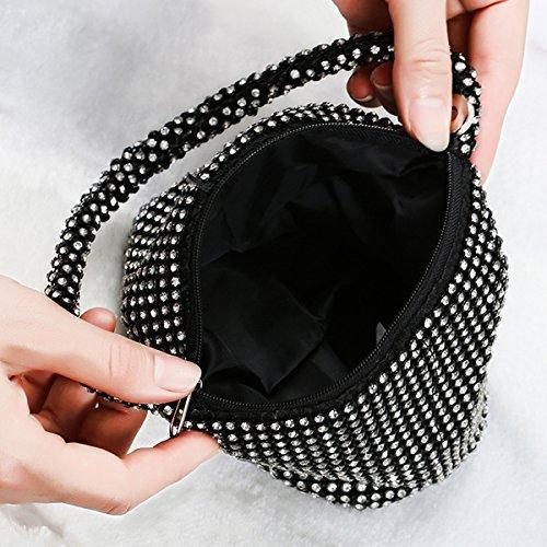 Flada Mädchen und Damen Handtaschen-Abend-Handtasche Strass Kupplungs-Geldbeutel für Prom Hochzeit Schwarz Schwarz