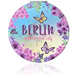 United1871 Taschenspiegel mit Vergrößerung 1x/5x, rund, klappbar, Schminkspiegel für unterwegs, für Make Up, Handspiegel Berlin (Butterfly)