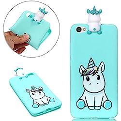 Funda Xiaomi Redmi Note 5A, Suave Gel Silicona TPU 3D Cartoon Animal Flexible Durable Protectiva Trasera Cubrir Anti-rasguño y a Prueba de Golpes Bumper Funda - Lindo unicornio