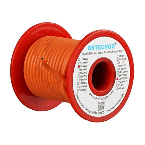 BNTECHGO 16 Gauge Silicone Wire Spool Orange 25 feet Ultra Flexible High Temp 200 deg C 600V 16 AWG Silicone Rubber Wire 252 Strands of Tinned Copper Wire Stranded Wire for Model Battery Low Impedance -