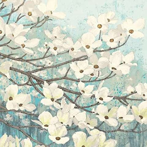 Feelingathome.it, STAMPA SU TELA 100% cotone INTELAIATA Dogwood Blossoms II