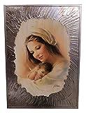 Quadro Moderno Madonna con Bambino E Cornice Argento