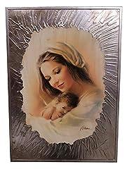 Idea Regalo - Quadro Moderno Madonna con Bambino E Cornice Argento