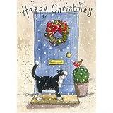 Alex Clark Charity Weihnachtskarten schwarz Cat an Blau Tür 5Stück + 1GRATIS Alex Clark Karte mit jeder Bestellung