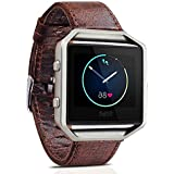 Fitbit Blaze Leather Band, Vintage Series Fitbit Blaze Band Genuine Leather Strap Replacement Band with Stainless...