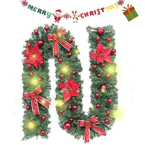 Enhome Weihnachtsgirlande mit Beleuchtung, 2.7 Meter Tannengirlande Blume Bow Obst Weihnachtsdeko Weihnachtstürdekor 8 Modus Lichterkette für Innen und Außen Verwendbar (2.7M /100 Led,Rot)