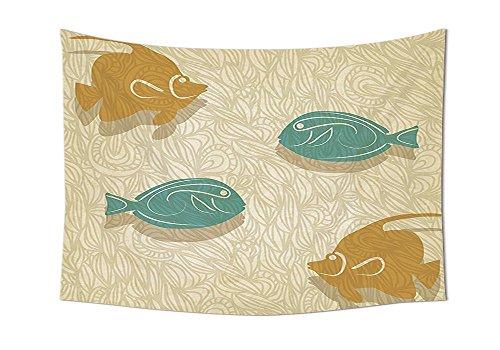 Ocean Stickset Fisch und Wellen Decor Aquarium Marine Zeichen Angeln Design Schlafzimmer Living Kids Mädchen Jungen Wohnheim Zubehör Kunst Wand aufhängen Blaugrün Peru beige, Textil, 90.5W By 59L - Fish Ocean Tank