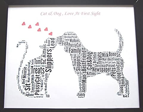 Personalised Cat & Dog ' Love At First Sight ' Word Art, Birthday, Christmas, Friendship, (Amore Affrancatura)