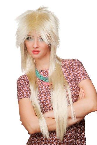 80er Jahre Perücke, blond, Glam Rock, lang, WIG ()