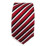TigerTie Schmale Designer Krawatte - rot karminrot schwarz weiss gestreift