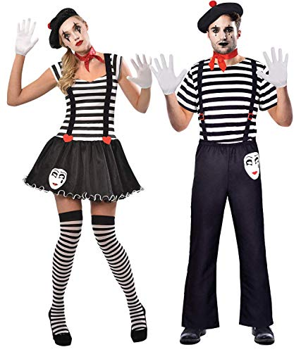 Couples Ladies & Mens Matching French Mime Artists Theatrical Circus Performers Carnival Fancy Dress Costume Outfits (Ladies UK 8-10 & Mens Standard)