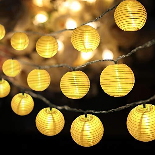 Eqosun® Solar Lampion Lichterkette 30 LEDs |EXTRA-ANFERTIGUNG| + 4 Meter Zuleitung warmweiß wetterfest für den Außen- und Innenbereich