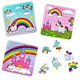 German Trendseller® - 12 x Magische Einhorn - Kinder Puzzle Kindergeburtstag ┃ Mitgebsel ┃Party - Regenbogen Einhörner ┃ 12 Puzzle