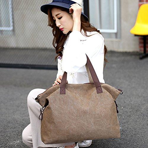 Young & Ming - grande Compacity tela Donna Borse colore puro Borse a tracolla borse a mano Handbag Totes Marrone