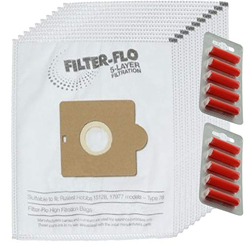 Spares2go - Bolsas de polvo tipo 76 para aspiradora Russell Hobbs 15128 1977 (paquete de 10 + 10 ambientadores)