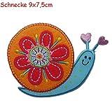 2 Aufbügler Schnecke 8X7cm Schmetterling 10X7cm Set Aufnäher Flicken Applikationen zum Ausbessern von Kinder Kleidung mit Design TrickyBoo Zürich Schweiz für Deutschland und Österreich