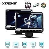 """XTRONS 10,1""""tragbar Auto DVD Player für Kopfstützen HD Bildschirm Headrest mit HDMI Port USB/SD Slot IR/FM Transmitter Auto Pad mit verstellbar Blickswinkel drehbar Halterung (HR102x2+DWH004x2)"""