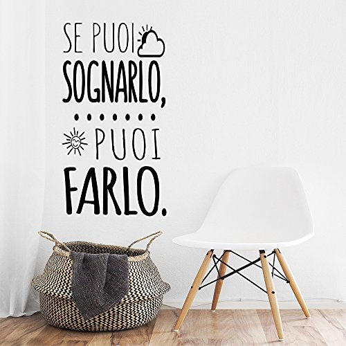 Vinilo decorativo, pegatina de pared con frase en Italiano 'SE PUOI SOGNARLO PUOI FARLO'adesivi murali decorazione per casa , decorazione da Muro,Wall Stickers, Art Sticker Decal Mural, DC-18400-M