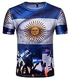 Whatlees Herren Slim Fit FIFA Fussball WM 2018 3D Druck T-Shirt Argentinien - Ba0043-14 - XXL