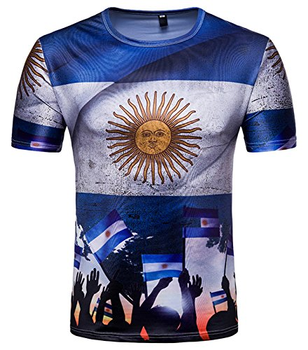 Whatlees Herren Slim Fit FIFA Fussball WM 2018 3D Druck T-Shirt Argentinien - Ba0043-14 - L